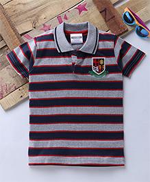 Tonyboy Half Sleeves Horizontal Striped Polo T-Shirt - Milange