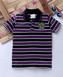 Tonyboy Half Sleeves Horizontal Striped Polo T-Shirt - Purple