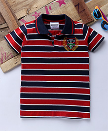 Tonyboy Half Sleeves Horizontal Striped Polo T-Shirt - Red