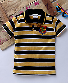 Tonyboy Half Sleeves Horizontal Striped Polo T-Shirt - Yellow