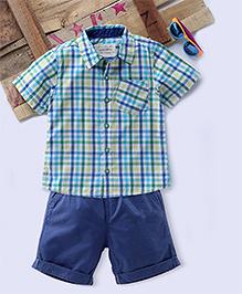 Tonyboy Combo Of Checkered Shirt And Shorts - Blue