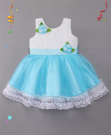 Babyhug Party Wear Dress With Floral Embellishment - Blue