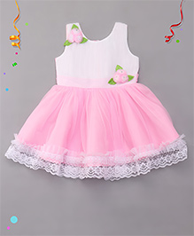 Babyhug Party Wear Dress With Floral Embellishment - Pink