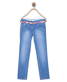 612 League Full Length Jeans With Belt - Light Blue