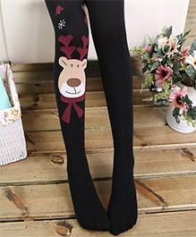 Aakriti Creations Teddy Face Designs Stockings - Black