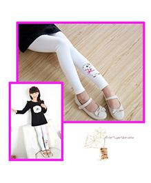 Aakriti Creations Puppy Embosed Leggings - White