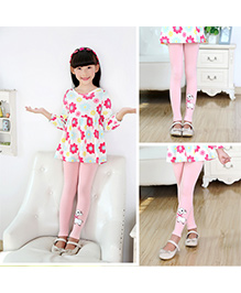 Aakriti Creations Puppy Embosed Leggings - Light Pink