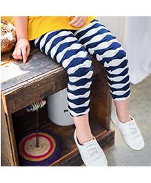 Aakriti Creations Layered Frill Leggings - Dark Blue & White