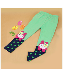 Aakriti Creations Bobby Print With Attached Kitty Face Leggings - Sea Green