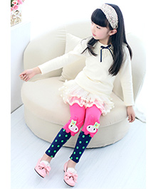 Aakriti Creations Bobby Print With Attached Kitty Face Leggings - Pink