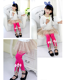 Aakriti Creations Stylish Cut With A Bow Leggings - Pink