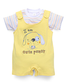 ToffyHouse Puppy Design Dungarees With Striped T-Shirt - Yellow