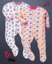 Kidi Wav Owl And Elephant Print Pack Of 2 Footed Romper - Pink