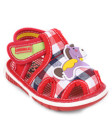 Cute Walk by Babyhug Sandals Check Print & Horse Patch - Red