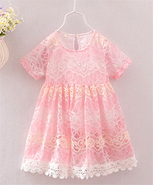 Aww Hunnie Cut Work Dress With Lace At Bottom - Pink