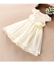 Aww Hunnie Flower Embroidered Dress With Pearl Lining At Waist - Yellow