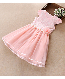 Aww Hunnie Flower Embroidered Dress With Pearl Lining At Waist - Pink