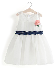 Aww Hunnie Lace Work Flower Applique Tutu Dress - White