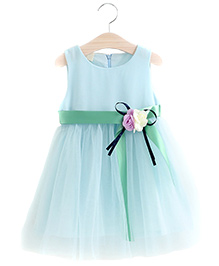 Aww Hunnie Fit & Flare Dress With Flower Applique - Blue