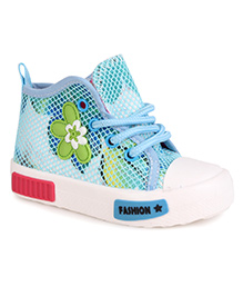 Cute Walk by Babyhug Canvas Shoes Flower Motif - Blue White