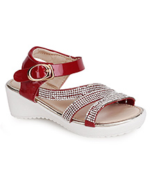 Cute Walk by Babyhug Party Wear Sandals Studded Detailing - Red