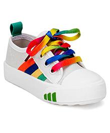 Cute Walk by Babyhug Canvas Shoes - White