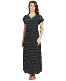 Eazy Short Sleeves Maternity Nursing Dotted Nighty - Black