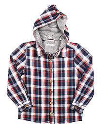 ShopperTree Full Sleeves Hooded Check Shirt - Blue Orange