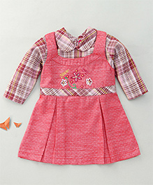 Enfance Frock With Inner Check Top - Coral Brown