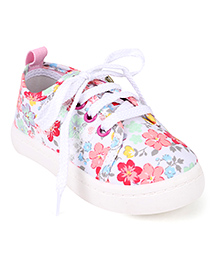 Cute Walk by Babyhug Lace Up Sneakers Floral Print - Pink & White