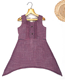 Marshmallow Asymm Gingham Checkered Dress - Purple