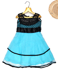 Marshmallow Fit N Flare Dress With Attached Lace Bodice - Light Blue