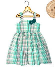 Marshmallow Checkered Shoulder Dress With Flower Applique - Green