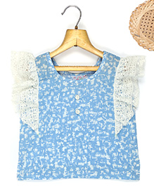 Marshmallow Fitted Top With Frill Lace At Sleeves - Blue
