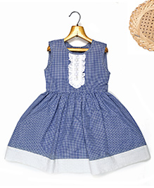 Marshmallow Fit N Flare Dress With Attached Lace At Front - Blue