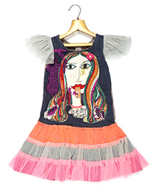 Marshmallow Lady Printed Fit N Flare Frill Dress - Multi Colour