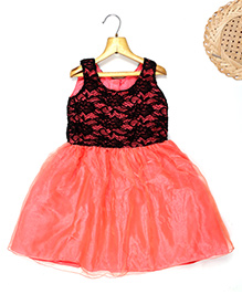 Marshmallow Fit N Flare Dress With Attached Lace Bodice - Orange