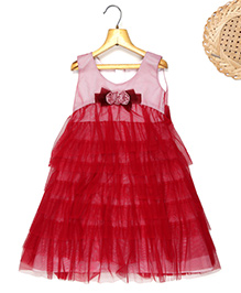 Marshmallow Frill Tier Dress With Floral Applique - Red