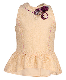 Cutecumber Sleeveless Peplum Top With Floral Appliques - Cream