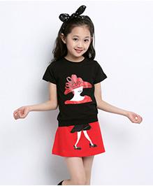 Wonderland Girl Printed Top & Skirt - Black & Red