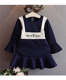 Wonderland Stylish Frilled Dress - Navy Blue