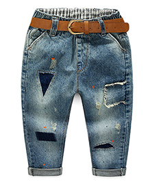Pre Order - Mauve Collection Patch Work Rugged Jeans With Belt - Navy Blue