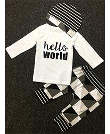 Pre Order - Adores Hello World Design Tee Checkered Pants With Cap - White & Black