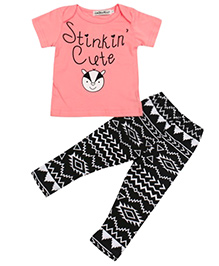 Pre Order - Adores Stinking Cute Top With Digital Printed Pants - Pink & Black