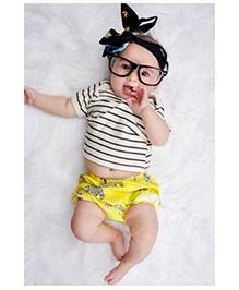 Pre Order - Adores Horizontal Stripe Tee With Animal Printed Shorts - White Yellow & Black