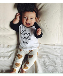 Pre Order - Adores Love Me Made T-Shirt With Heart Printed Pants - White Black & Golden