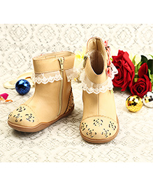 Walktrendy By Walkinlifestyle Cutwork And Lace With Rose Boots - Beige