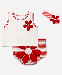 Chicabelle Set Of Big Flower Patch Applique Tee With Bloomer & Headband - Red & White