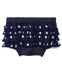 Chicabelle Polka Dot Skirt Lace Frills Blommer - Blue