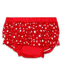Chicabelle Polka Dot Skirt Lace Frills Blommer - Red